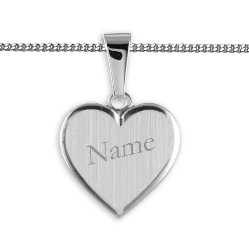 Baby Taufe Kinder Herz Anhänger mit Gravur Name Datum mit Kette Echt Silber 925