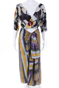 Etro-Womens-Silk-Stripe-Print-Tie-Maxi-Dress-Purple-Gold-Multicolor-Size-38-IT