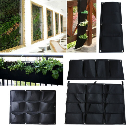 Black Hanging Planter Bag Indoor Outdoor Wall Balcony Plant Grow Pots Garden