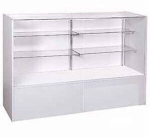 New gray display case full vision with split glass shelves for 18 x 48 window