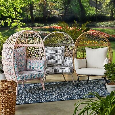 KIDS Indoor Outdoor Egg Style Chair Rattan Wicker Furniture Reading Cushion Seat    eBay