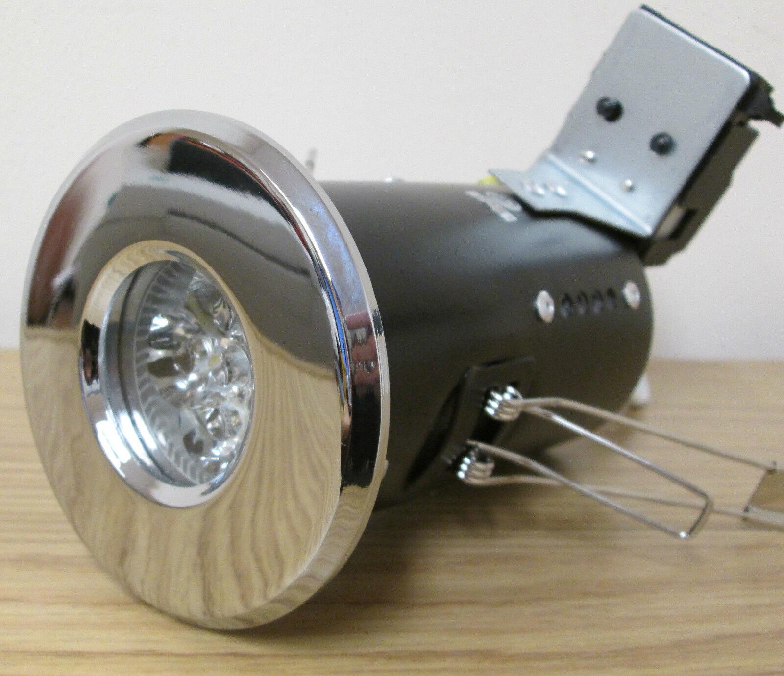 6 X fuego con calificación de 4 vatios Led Cromo Pulido Gu10 Ip65 Baño Downlight cálido Wht
