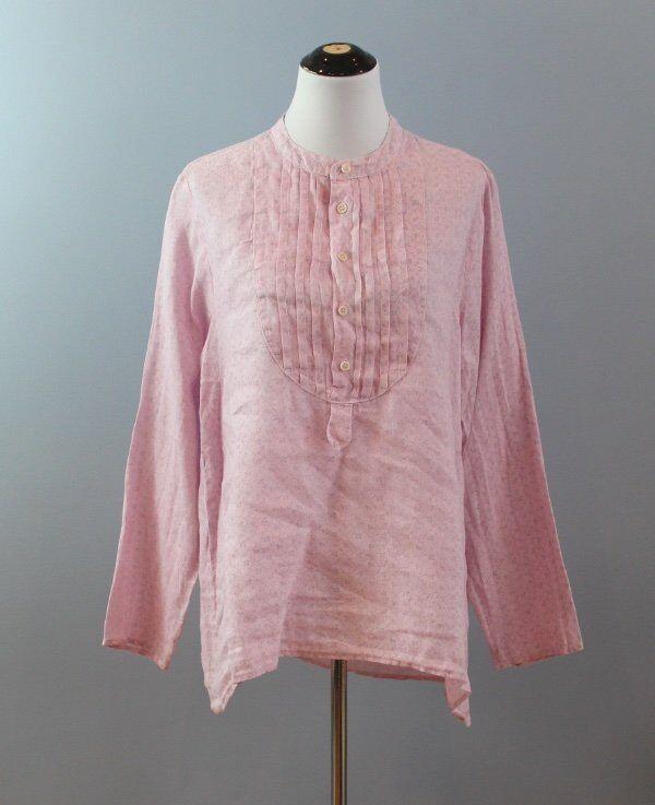 CP SHADES Sz M Medium 100% Linen Rosa Tiny Floral Print Pintuck Bib Shirt Top