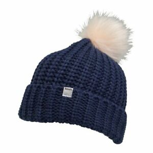 Bench-Womens-Elsa-Beanie-Hat-Navy-with-Faux-Fur-Pom-Pom