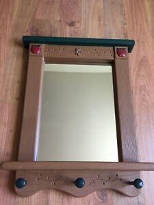 Home-Interiors-APPLE-Wall-Mirror-Shelf-Coat-Rack-21-3-8-034-x-16-3-4-034-Homco-PERFECT