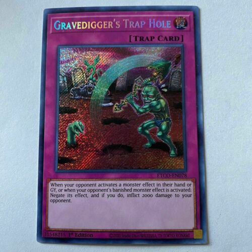 Yugioh Gravedigger's Trap Hole ETCO-EN078 Secret Rare 1st Edition NM