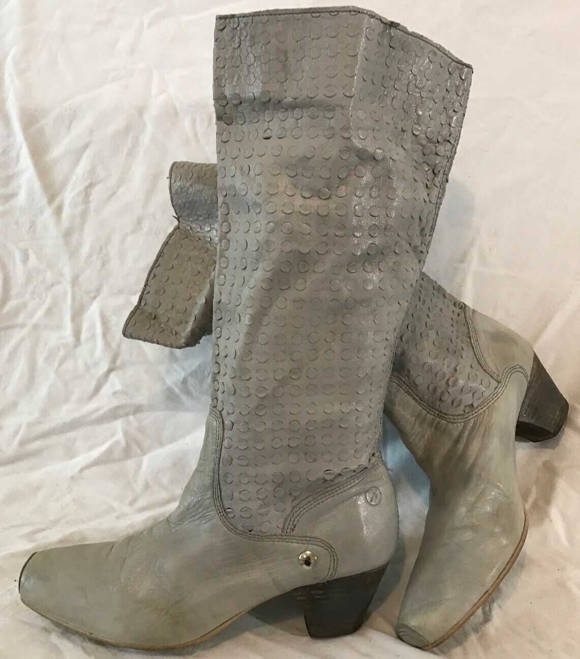 Bronx Grey Mid Calf Leather Boots Size 39 (497Q)