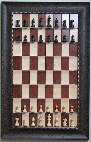 Straight Up Chess Board-rouge Maple Chess Board Avec  Noyer Cadre Scoop  grosses économies