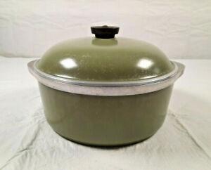 Vintage Club Aluminum 4QT Dutch Oven Cooking Pot Avocado Green with Lid