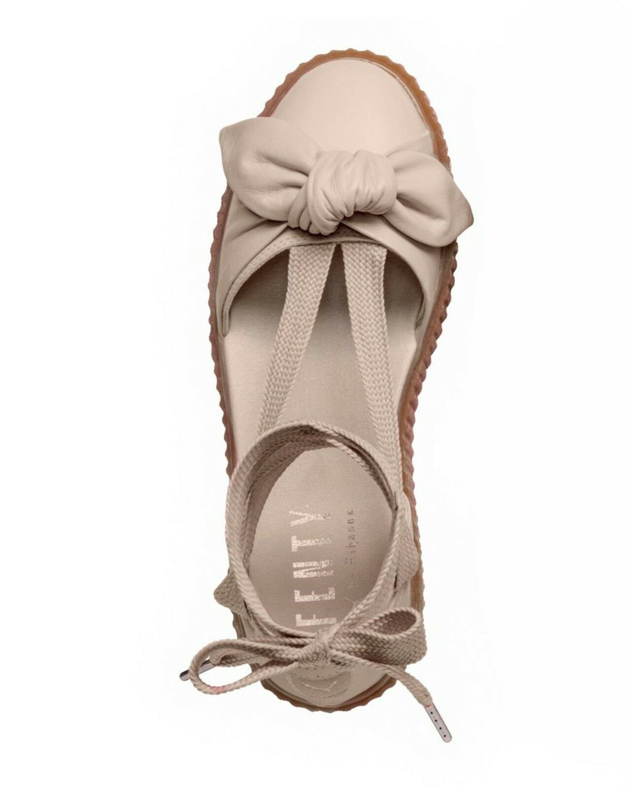 Fenty Puma by Rihanna Leather Bow Creeper Sandal Oatmeal Sz 9.5 140 NEW