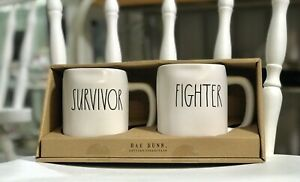 Rae-Dunn-Mug-Set-Survivor-Fighter-New-in-Box-Artisan-Collection-by-Magenta