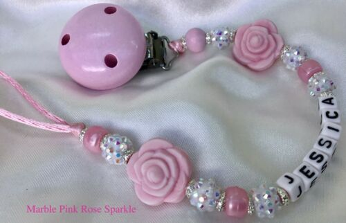 ♕ Personalised DUMMY CLIP ♕ Max 8 Letters ♕ ROSE SPARKLE ♕ 6 Colours available♕