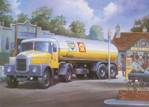 Scammell Highwayman BP Shell Tanker Lorry Driver Blank Birthday Fathers Day Card
