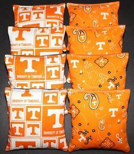 8 All Weather CORNHOLE BEANBAGS made w TENNESSEE VOLUNTEERS Fabric Aca Reg Bags