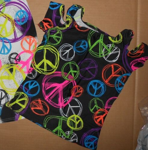 NEW Cold Shoulder Dance Top Peace Sign Print Black or White Girls Sizes