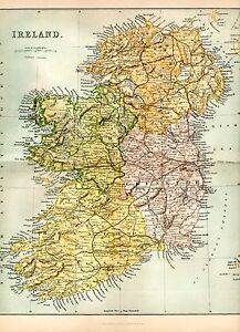 Print Map Of Ireland.Details About 1880 Print Map Of Ireland