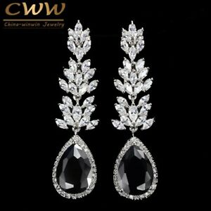 Image Is Loading Long Black Crystal Drop Earring Fashion Cubic Zirconia