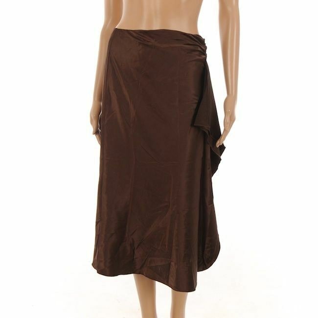 SAND Skirt Brown Knee Length Sateen With Side Ruffle Size 38   NP 849