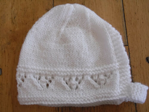 3-6 Brand New Hand Knitted White Baby Bonnet 0-3 6-9 Months