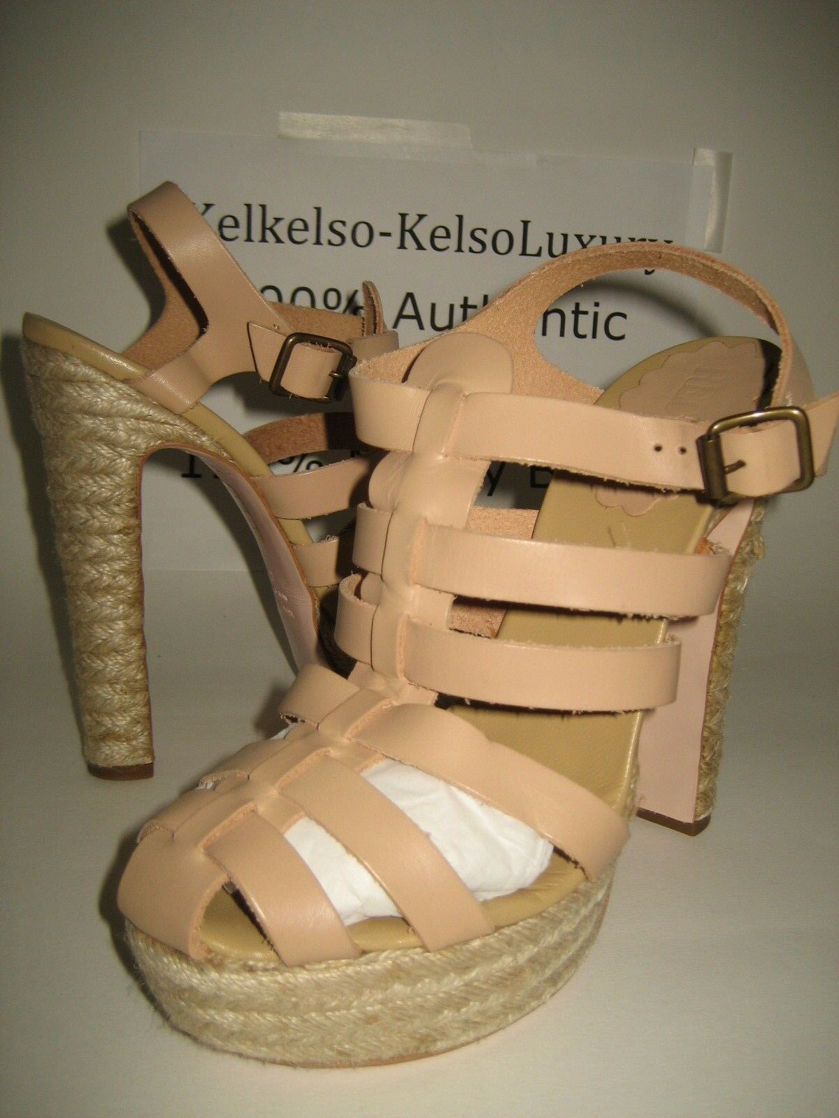 NEW Red Valentino US 10 Beige Leather High Heels Strap Sandals shoes