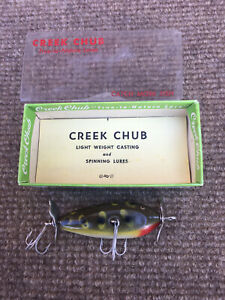 Vintage Creek Chub Injured Minnow Frog Color w/ Box and Pamphlet