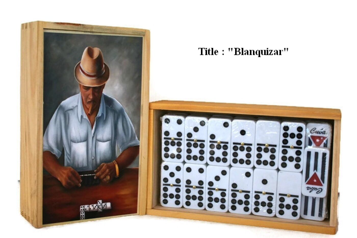 Father's Day Gift    Domino Set Double Nine  Blanquizar  Oil painting on Top.