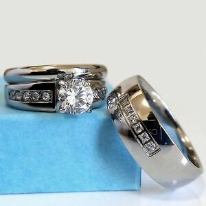 image is loading wedding ring set his amp hers stainless steel - Engagement And Wedding Ring Sets