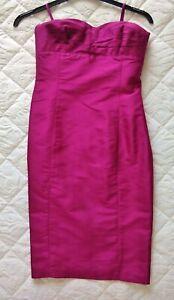 Ralph-Lauren-Silk-Cocktail-Party-Dress-Size-8-Pink-Fuschia-Ladies-Womens