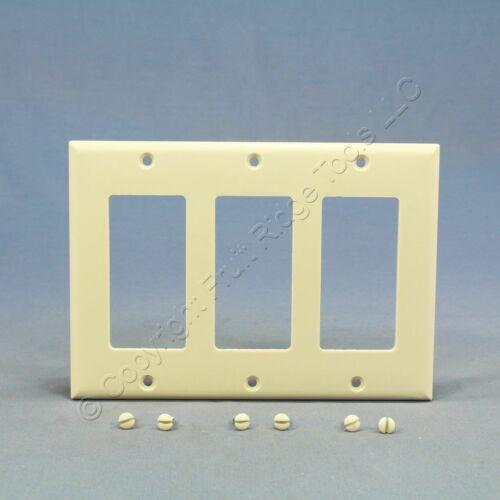 Cooper Light Almond Decorator 3-Gang Thermoset Wallplate GFCI GFI Cover 2163LA