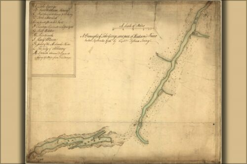 Poster, Many Sizes; Map Of Lake George Hudson River 1756