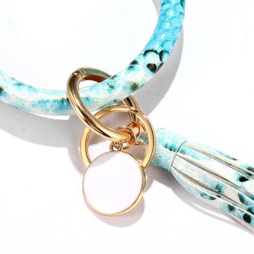 PU Leather Wristlet Keychain Bangle Leopard Snake Large Circle Tassel Bracelet