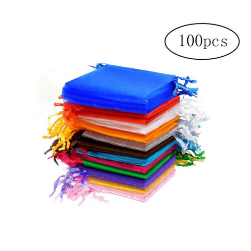 100pcs Organza Pouch Bags Gift Candy Bags Jewelry Pouches Multicolored 7x9cm