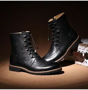8df85a95ad7d MEN HANDMADE LACE-UP ANKLE HIGH LEATHER BLACK BOOT ANKLE LEATHER CAP ...