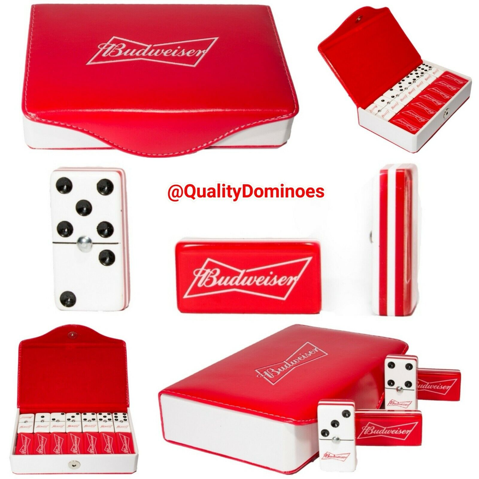 Budweiser Beer Domino Game Set Double 6 Jumbo Größe Man Sie Father Gift Dominoes