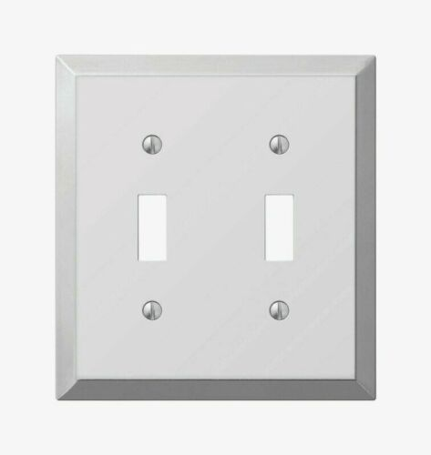 Amerelle Century Polished Chrome TOGGLE WALL PLATE 2 Gang Stamped Steel 161TT