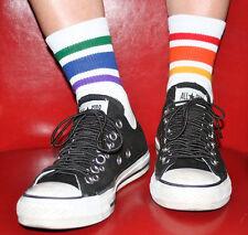 Men's Low Cut Rainbow Striped Crew Athletic Socks LCL-3