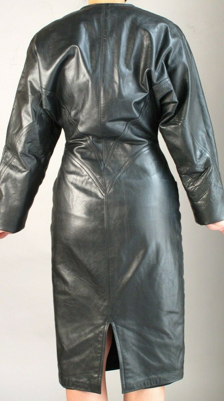BLACK  LEATHER SHEATH  DRESS with ZIPPER FRONT  … - image 4