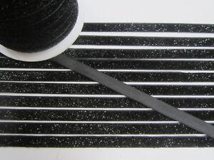 10-Meter-schwarz-Borte-Spitze-Nichtelastisch-Lurexband-Glitzerband-1cm-BB-250