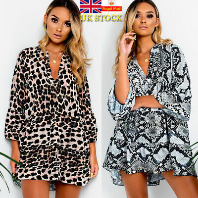 UK Womens Pullover Ruffles Holiday Plunge Swing Ladies Party Leopard Mini Dress