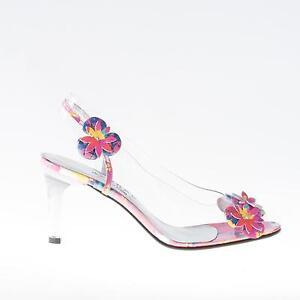 AZUREE CANNES scarpe donna shoes Sandalo NEROBI trasparente fiori multicolore