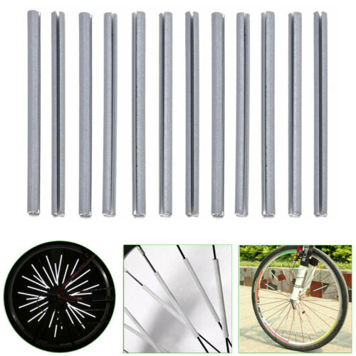 12pcs Cycling Wheel Spoke Reflectors Bicycle Bike Reflective Mount Clip Tubes