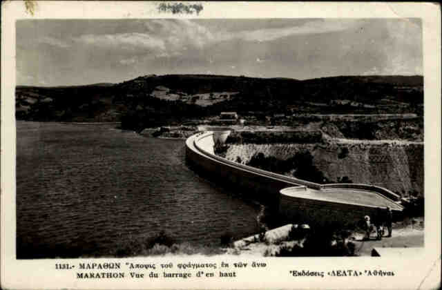 Marathon Μαραθών Griechenland alte s/w AK 1939 gelaufen Blick auf die Staumauer