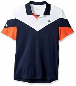 NWT-LACOSTE-Men-039-s-Tennis-Short-Sleeve-Ultra-Dry-Chevron-Colorblock-Polo-XS-4XL