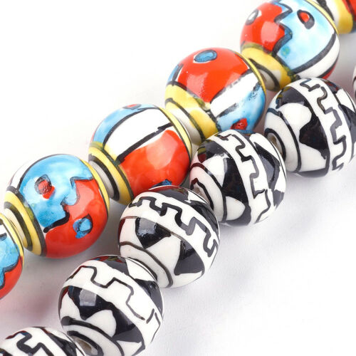 25pcs Colorful Handmade Porcelain Beads Glazed Painted Loose Beads Craft 15~16mm