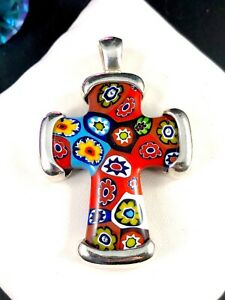 ITALY-925-STERLING-SILVER-RED-YELLOW-MILLEFIORI-GLASS-CROSS-DESIGN-PENDANT