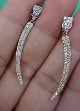 Micropave diamond dangle earrings 14k two tone gold MISSING DIAMONDS