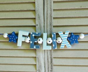 Details Zu Felix Namenskette Kinderzimmer Holzbuchstaben Deko Junge Fussball Blau Weiss