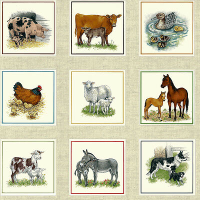 Farm Animal Labels Panels Quilting Fabric 55 Individual Panels 1485 Makower