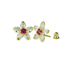 14k-Yellow-Gold-Cz-Flower-Stud-Earrings