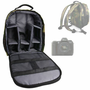 Camouflage-Nylon-Rucksack-with-Padded-Interior-for-Nikon-D100-D200-D2X-D3300